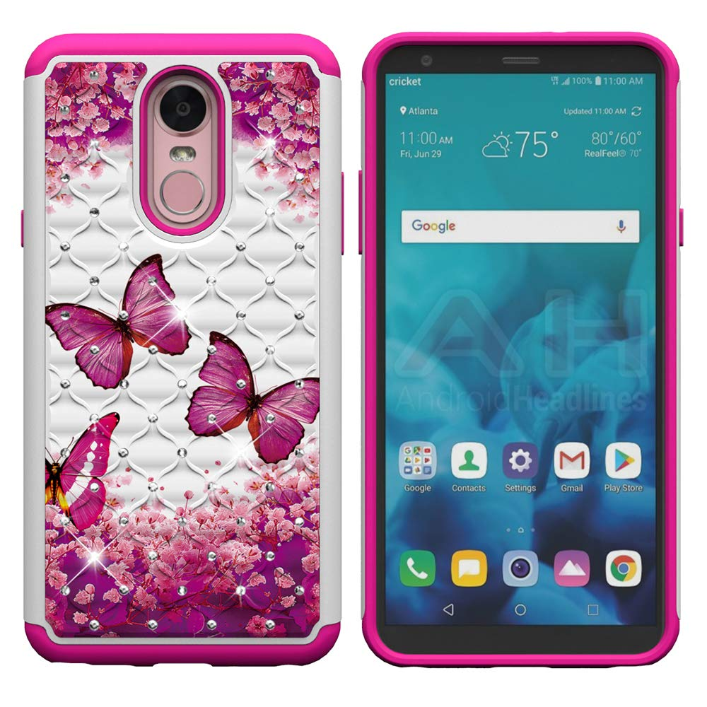Aiyze for LG X Charge/Fiesta 2 LTE/Fiesta LTE / K10 Power/X Power2 (2017) Case Tough Dual Layer Rubber Hybrid Hard Soft TPU Back Protective Cover Coloured Drawing Glitter Crystal Rose Butterfly