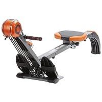 skandika Rudergerät Regatta Multi Gym Poseidon SF-1150, Geräusch-/Wartungsarmes Bremssystem über Polyfiber Zugsystem, zusammenklappbar, Multifunktionstrainingscomputer, schwarz/orange