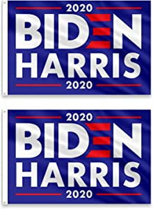 PINCHUANG 2 Pack Joe Biden Kamala Harris 2020 Flag Banner - 3x5 Feet 2020 American Presidential Election Flag Banner, Democrat Party Poster Biden Sign for 2020 Presidential Election Decor (Blue)