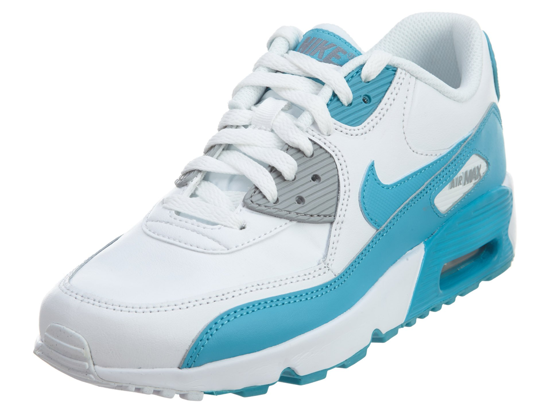 Nike GS Big Kids Air Max 90 Leather Fashion Shoes White/Chlorine Blue/Wolf Grey, 5.5