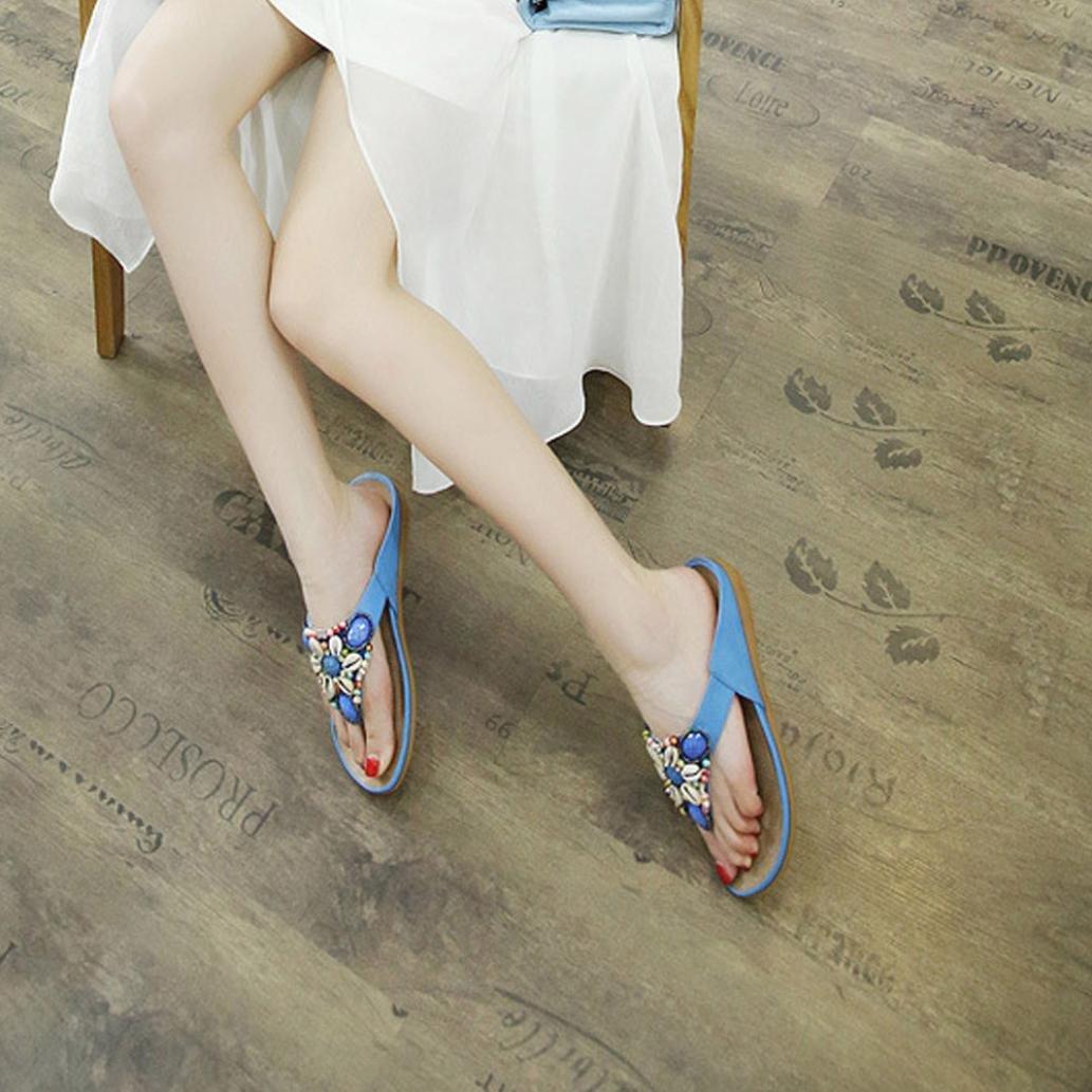 Deslizadores de mujer Zapatos planos de Covermason Bohemia Ocio sandalias de señora Zapatos abiertos de peep-toe(37 EU, Azul): Amazon.es: Ropa y accesorios