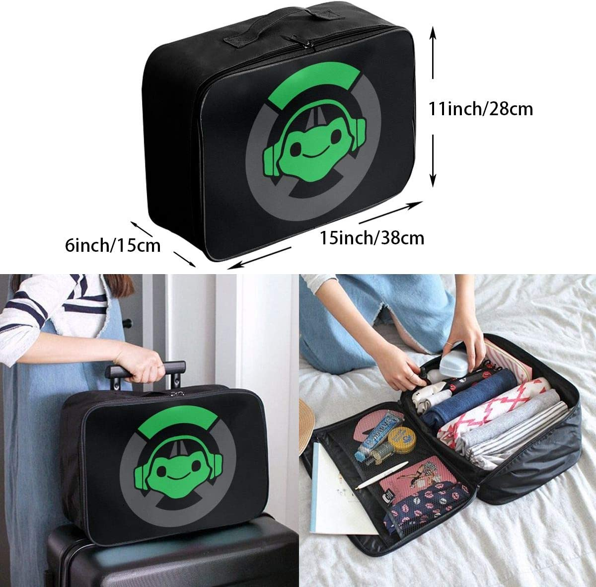 Lucio Overwatch Video Game Travel Duffel Bag Lightweight Large Capacity Portable Luggage Bag Weekender Carry-on Tote