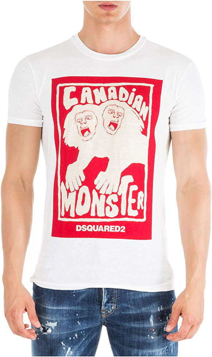 DSQUARED2 Hombre Camiseta Canadian Monster Bianco S: Amazon.es: Ropa y accesorios