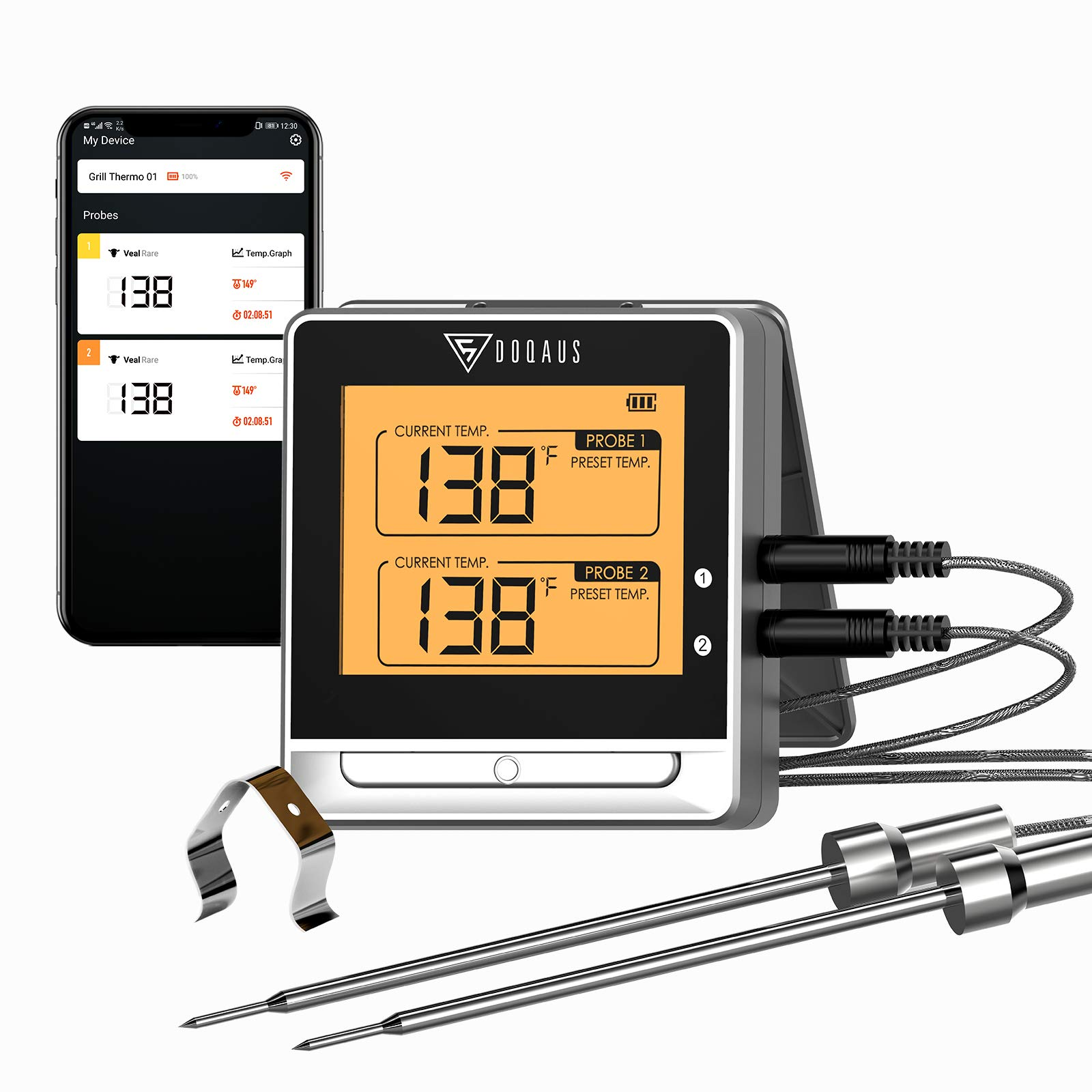 DOQAUS Bluetooth Wireless Meat Thermometer for Grilling, Digital Food Thermometer with 2 Probes, 197ft Remote Cooking Thermometer with Smart Kitchen Timer and Backlight for Smoker, Oven, Grill, BBQ