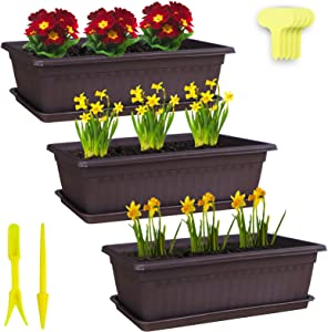 """Window Box Planter 3 Pack 17"""" Plastic Rectangular Planters with 20 Plant Labels,Trays and 2 Graden Tools Vegetables Growing Container Garden Flower Plant Pot for Balcony Windowsill Patio Garden"""