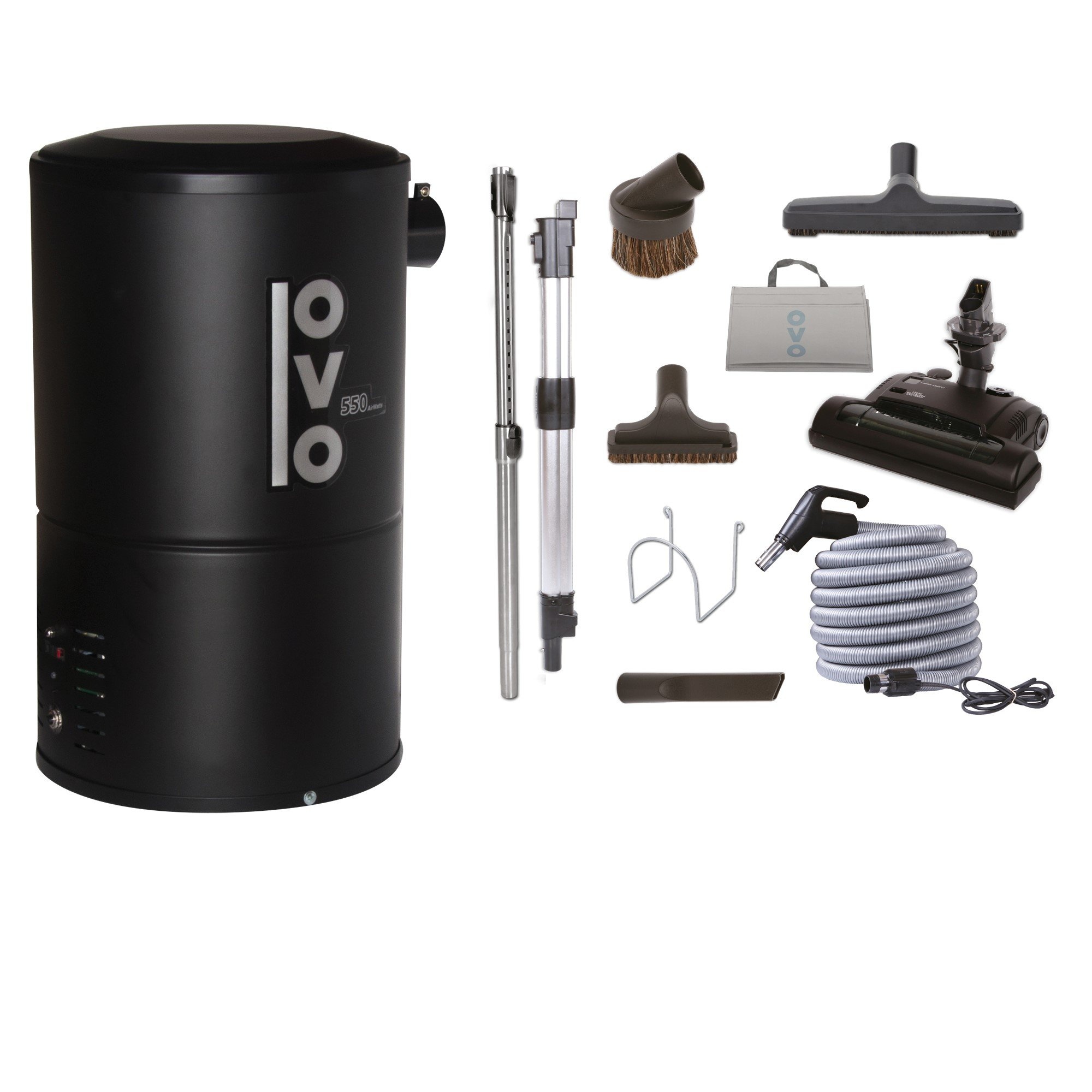 OVO Compact 550 Airwatts System Power Unit with Carpet Deluxe Accessory Kit Included Central Vacuum Cleaner, Condo-Vac, Black by OVO