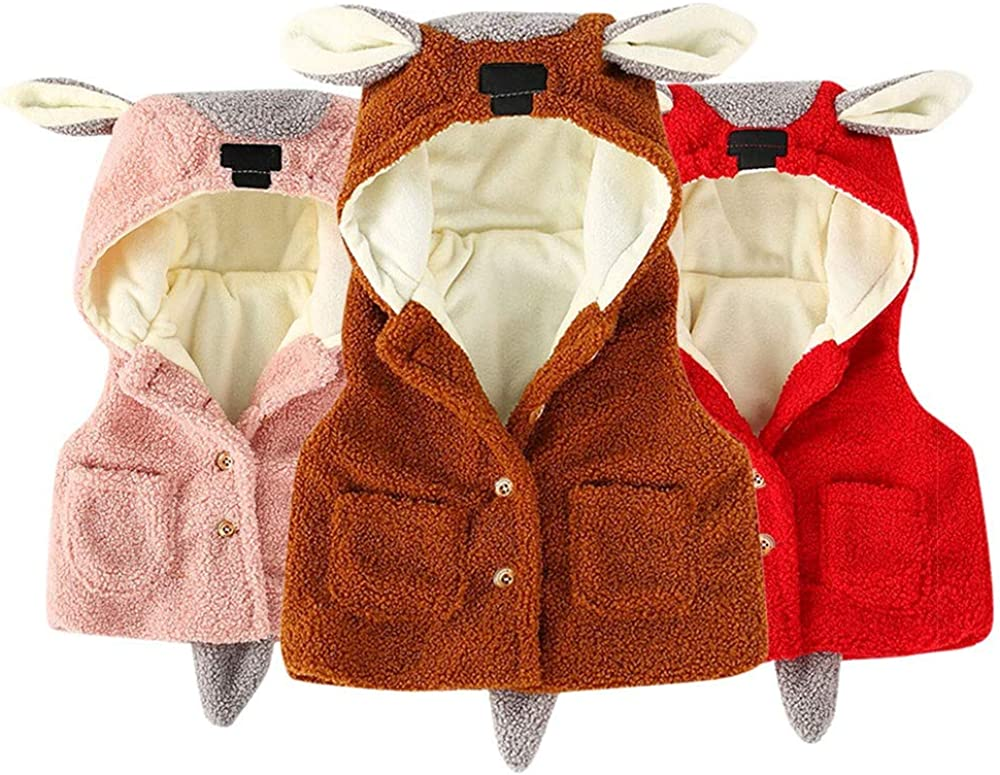 Theshy Newborn Baby Boys Girls Cartoon Ears Jacket Waistcoat Winter Warm Clothes Coat Cotton Jacket
