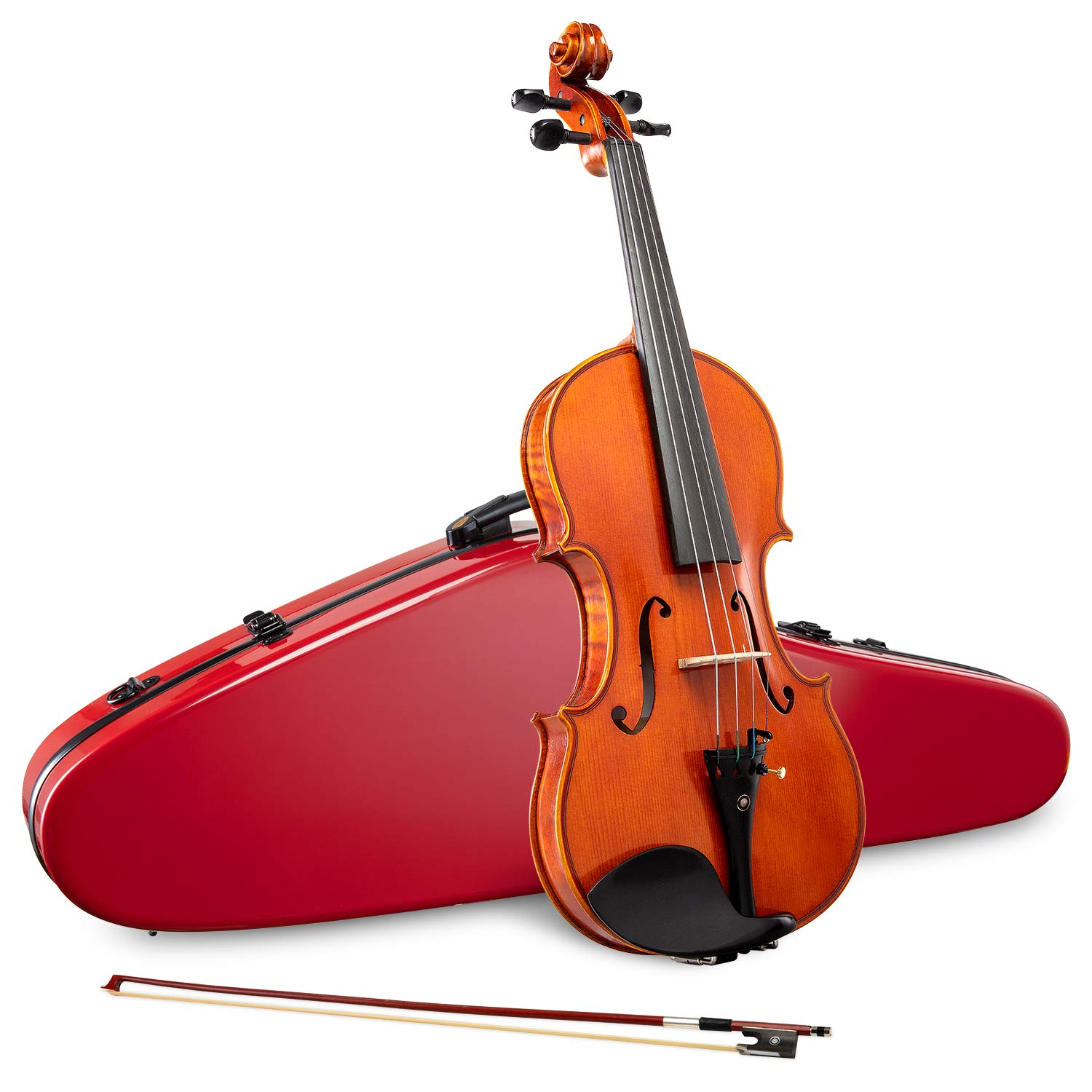 LyxJam Premium Full Size Violin Set - 4/4 Maple/Spruce Violin Kit for Beginner & Intermediate Players, Rosin, Red Hard Carry Case w/Hygrometer & Strap
