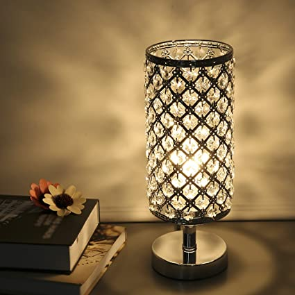 Table Lamp Tomshine Crystal Bedside Lamp for Living Room Silver Desk ...