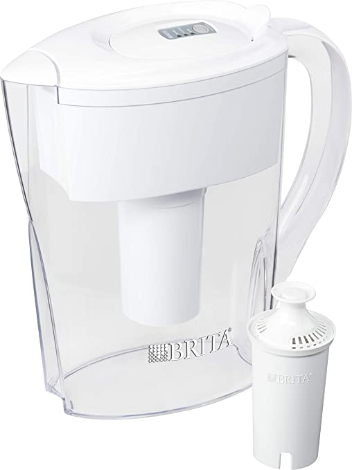 Brita Water Filtration 5 Cup Slim BPA Free Water Pitcher with 1 Filter ~White