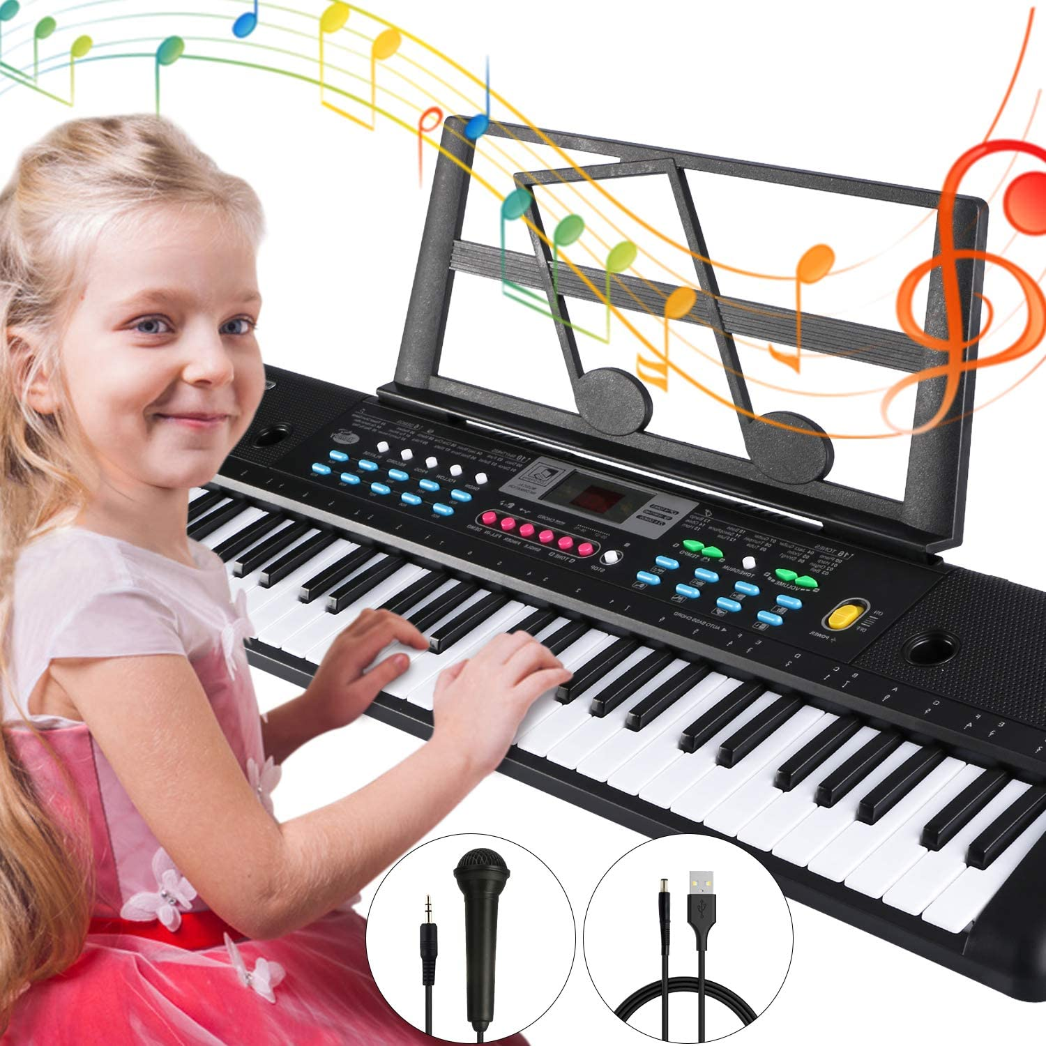Electronic Keyboard Piano 61 Key, Tencoz Portable Piano Keyboard with Music Stand, Microphone, Power Supply Digital Music Piano Keyboard for Kids
