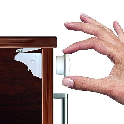 Cerraduras de armario de seguridad para bebés, cerraduras magnéticas Cerradura de adhesivo magnético sin perforaciones