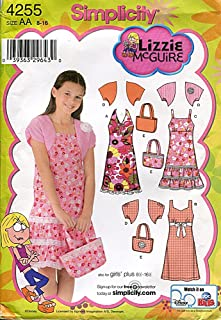 product image for Simplicity 4255 Sewing Pattern, Girls'/Girls' Plus Dress with Bodice Variations, Shrug and the Bag, Size AA (8-16)
