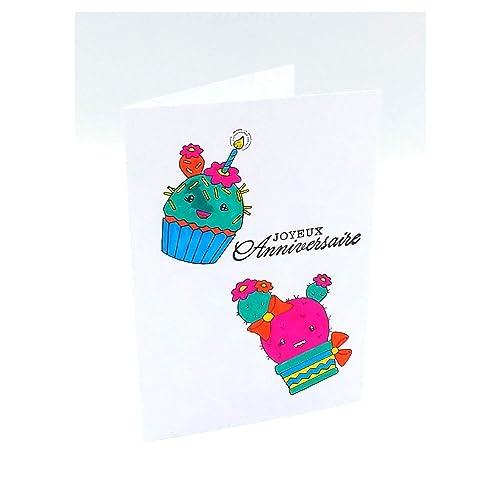 Carte Joyeux Anniversaire Fille Femme Enfant Carte Anniversaire Carte De Voeux Anniversaire Cactus Cup Cake Carte Double 10 5 X 14 8 Cm Avec Enveloppe Amazon Fr Handmade