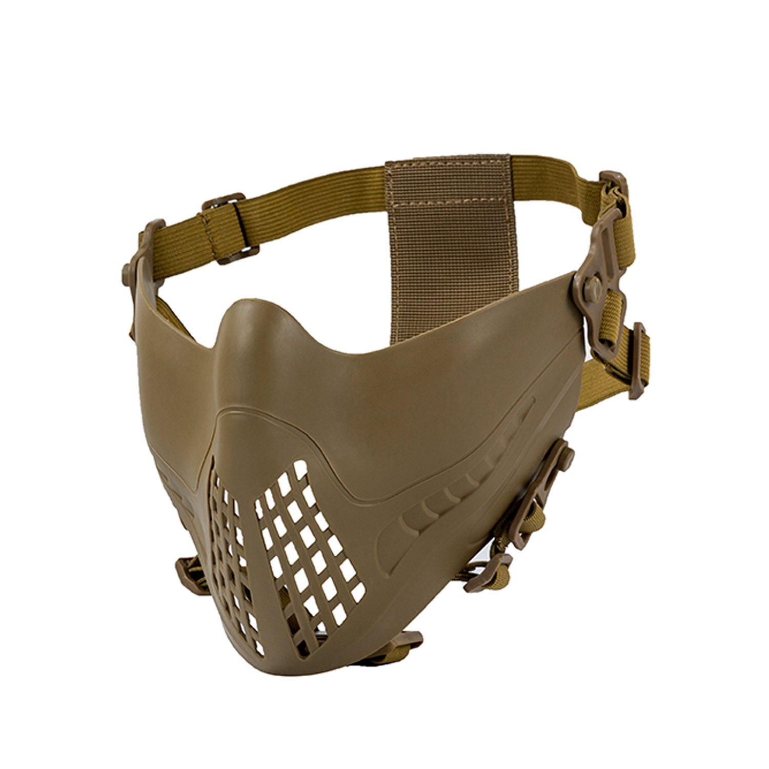 1T Intimidator half-face Mask per veloce casco Airsoft Paintball Wargame Cosplay, Uomo, Tan 1T Gear