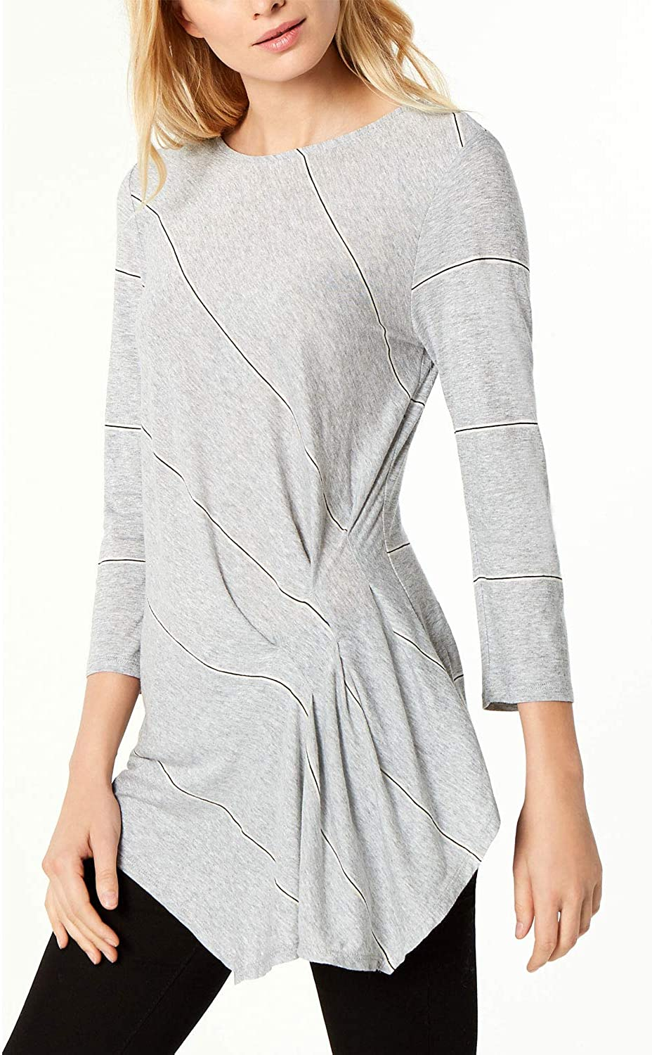 Vince Camuto Womens Striped Sheer Pullover Top