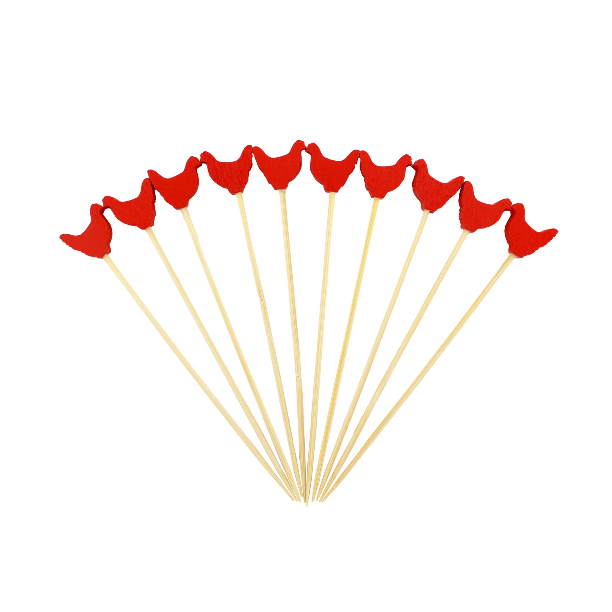 BambooMN 3.9'' Decorative Red Rooster End Bamboo Cocktail Fruit Sandwich Picks Skewers for Catered Events, Holiday's, Restaurants or Buffets Party Supplies, 1000 Pieces