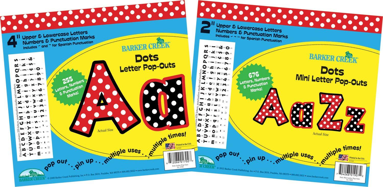 Barker Creek 2'' & 4'' Poster Letters & Bulletin Board Letter Pop-Out Set - Dots (BCP-3501)