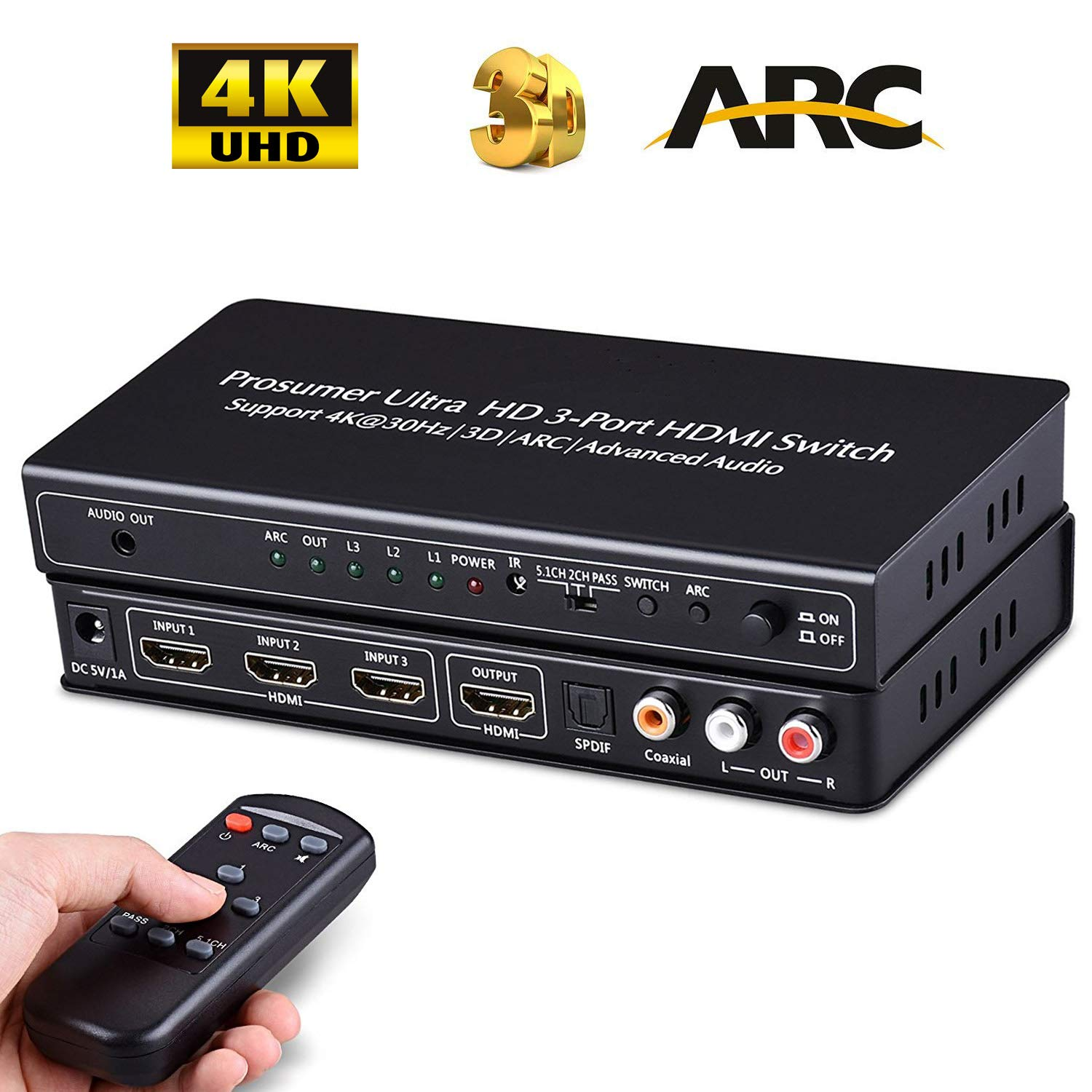 HDMI Switch Audio Extractor Splitter 4K Auto Switcher HUB with ARC Remote Selector 3 Port in to Coax / Optical SPDIF Toslink & 3.5MM / LR RCA Out 3D Video Box for TV Projector HDCP Speakers (Black)