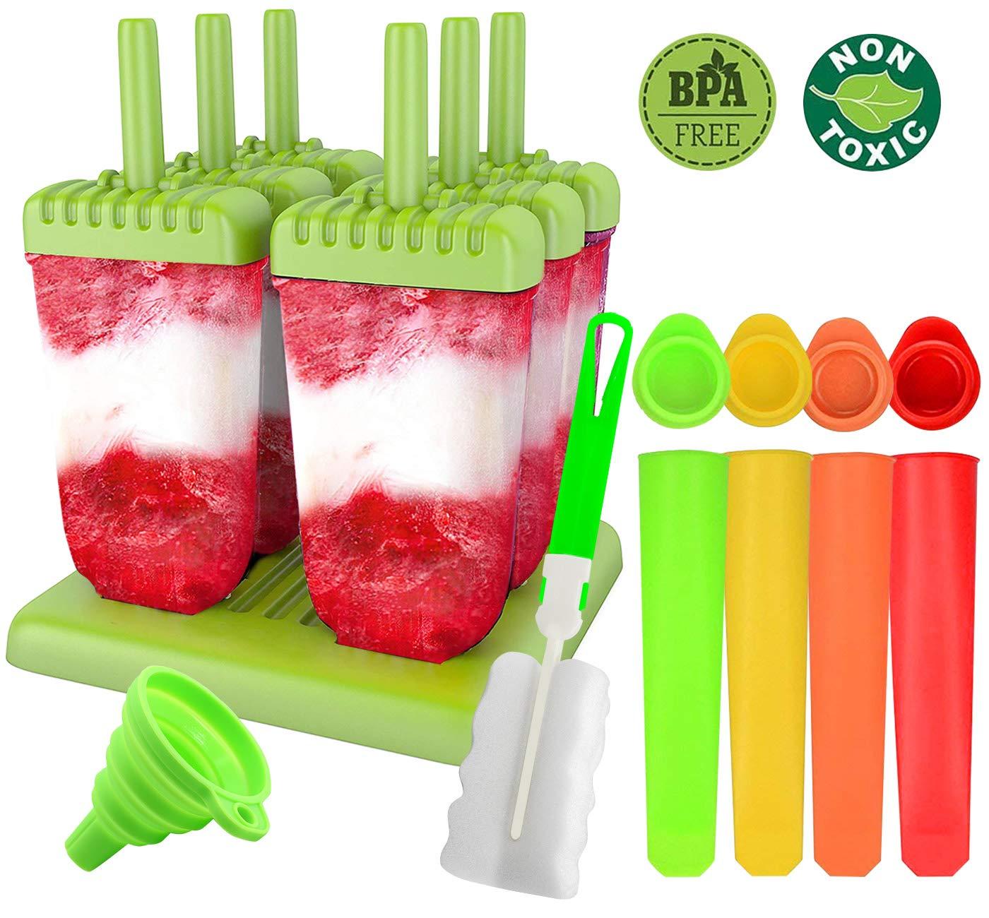 Molde para Helados, Gyvazla Reutilizable Moldes Silicona, 6 Fabricantes de Paletas Heladas, 4 Moldes de silicona para helados, LFGB y Libre de BPA, ...