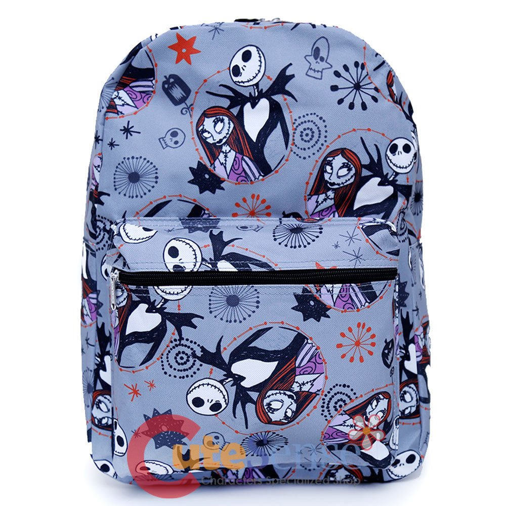 Disney Nightmare Before Christmas Sally & Jack Gray Allover Print 16IN Backpack -Grey 8566