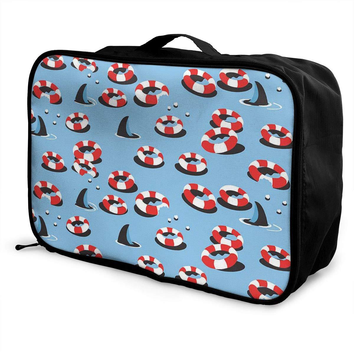 Travel Luggage Duffle Bag Lightweight Portable Handbag Shark Pattern Large Capacity Waterproof Foldable Storage Tote