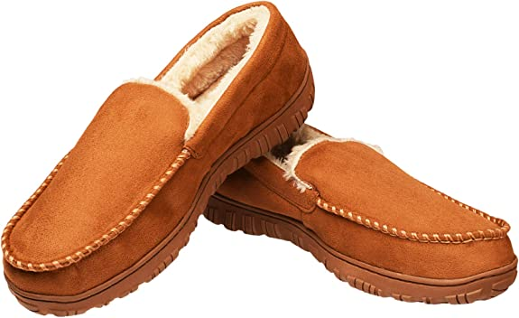 CareBey Mens Comfortable Warm Moccasin Slippers US 10 M Light Brown
