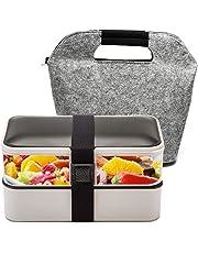 BOQUN Boîte Bento, Boîte Déjeuner Deux Etages, Récipient Alimentaire 1200ml, des Couverts et Un Sac Isolé Inclus, Etanche, Lave-Vaisselle et Micro-Ondes Disponible