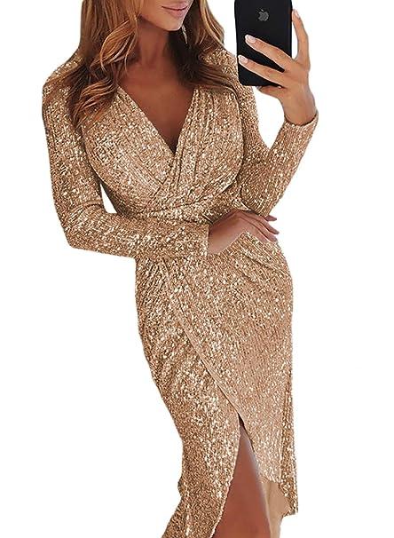 Aleumdr Vestito Donna con Scollo V Abito Donna Paillette Vestito da  Invernale Taglia S-XL  Amazon.it  Abbigliamento f35eb17d535