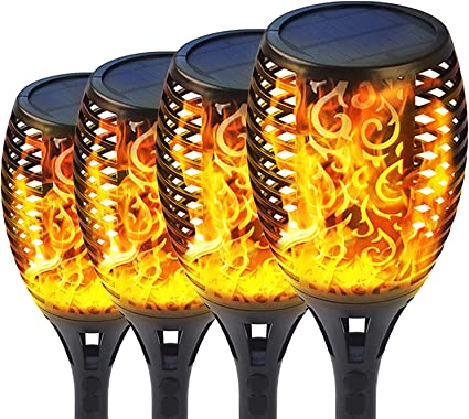 8X 96 LED Solar Power Path Torch Light Dancing Flickering Flame Oudoor Lighting