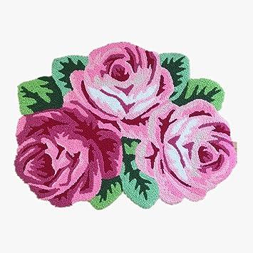 Ustide 3 Rose Shaped Rug Pink Roses Rug Handmade Rug Anti Slip Mat  Personalized Custom