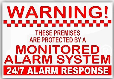6 x monitoreado sistema de alarma pegatinas-130mm blanco y ...