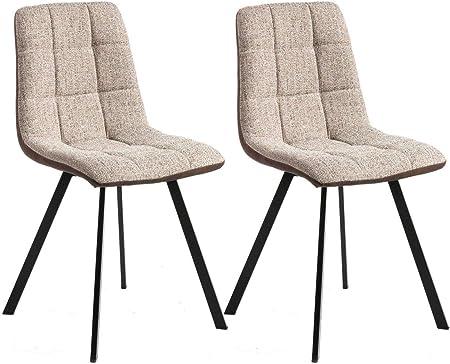 Miroytengo Pack 2 sillas Comedor Delta Salon Estilo Industrial Color Beige y Marron Patas Negras 89x54x46 cm: Amazon.es: Hogar