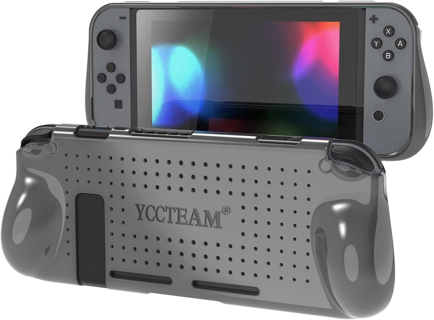 YCCTEAM Protective Case for Nintendo Switch, Heat Dissipation Comfortable Soft Shockproof Handheld Cover Grip Case Silicone Gel Rubber Full Body Protector for Gamepad Mode (Grey)