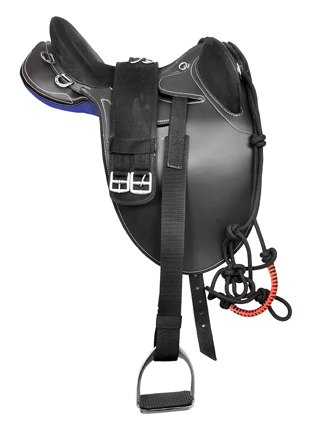 """Manaal Enterprises Synthetic Suede Australian Stock English Horse Saddle Tack Included Stirrup, Get Matching Girth & Rope Halter Size- 14' to 18' Inch Seat Available (16"""" Inch Seat, Black)"""