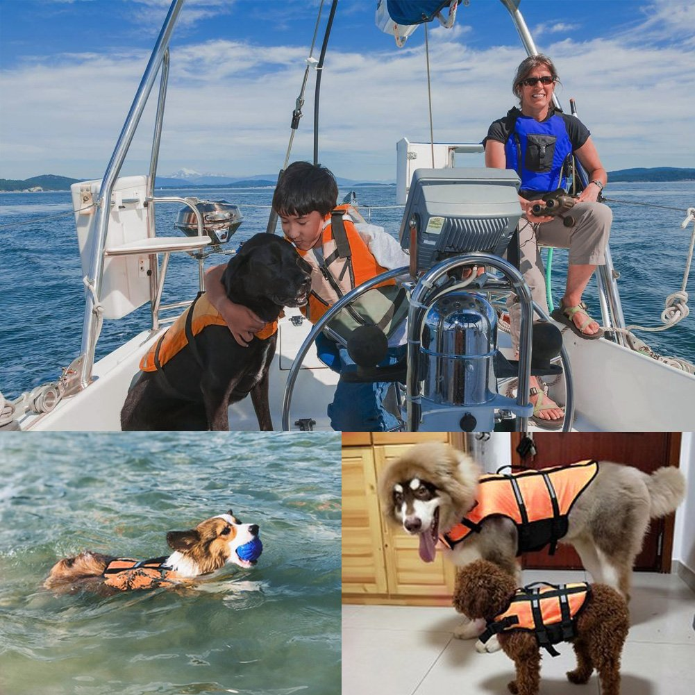 Gtpeak Dog Life Jacket Swimming Vest Saver with professional Flotation Device Reflective Stripe Adjustable Elastic Band Easy Grabbing Different Sizes by Gtpeak (Image #7)
