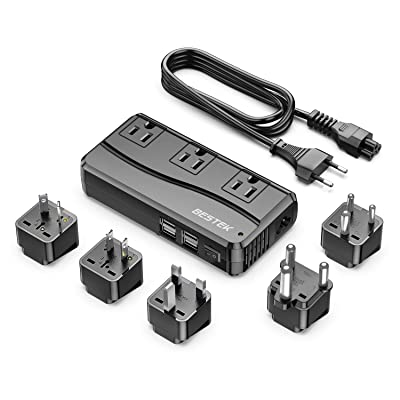 BESTEK 250W Power Converter 3-Outlet and 4-Port USB Travel Voltage Transformer 220V to 110V with Type G/D/M/AU/US Travel Plug Adapters: Electronics