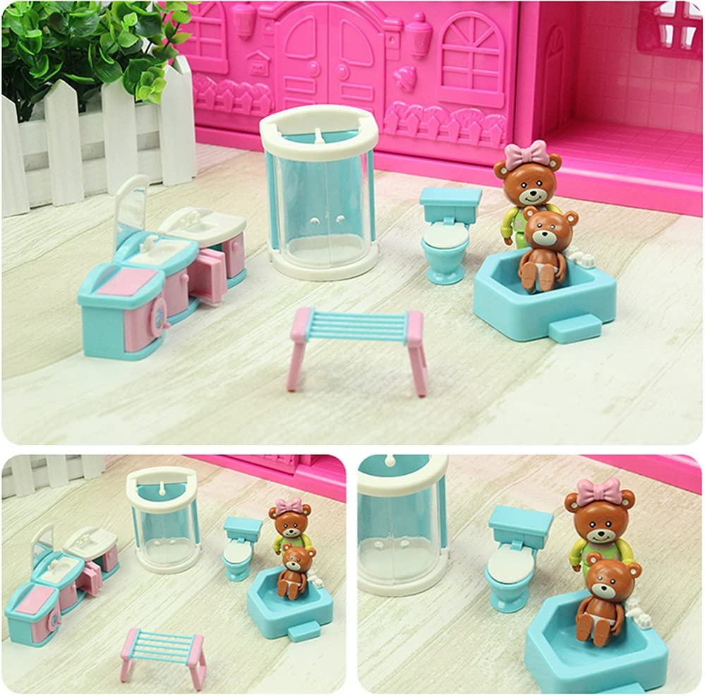 Dollhouse Furniture Set Pretend Play 40pcs XHAIZ Girl Toys Unique Gift for Girls 3-6 Ages