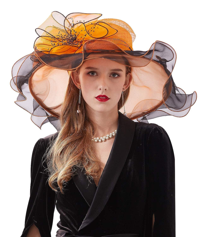 Z/&X Womens Organza Kentucky Derby Church Fascinator Fancy Floral Bridal Wedding Hat