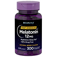 Carlyle Melatonin 12 mg Fast Dissolve 300 Tablets   Nighttime Sleep Aid   Natural Berry Flavor   Vegetarian, Non-GMO, Gluten Free