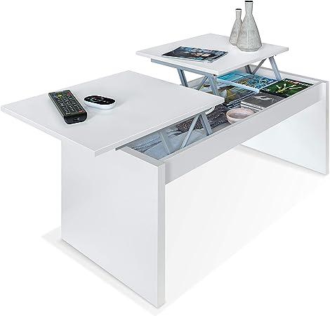 Habitdesign 001642A - Mesa de Centro elevable Modelo Side, mesita de Salon Comedor Acabado en Blanco Artik, Medidas: 102 cm (Largo) x 43-54 cm (Alto) x 50 cm (Fondo): Amazon.es: Hogar