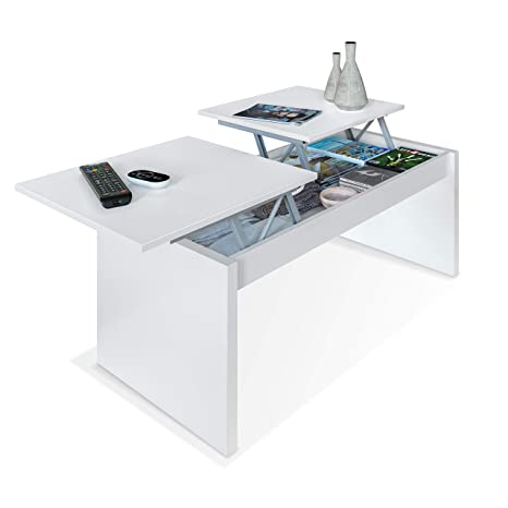Habitdesign 001642A - Mesa de Centro elevable Modelo Side, mesita de Salon Comedor Acabado en Blanco Artik, Medidas: 102 cm (Largo) x 43-54 cm (Alto) ...