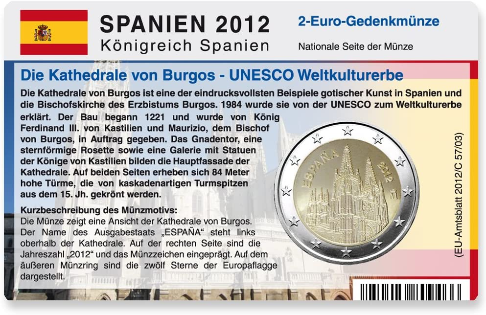 Tarjeta de monedas para monedas de 2 euros letona de España 2012 ...