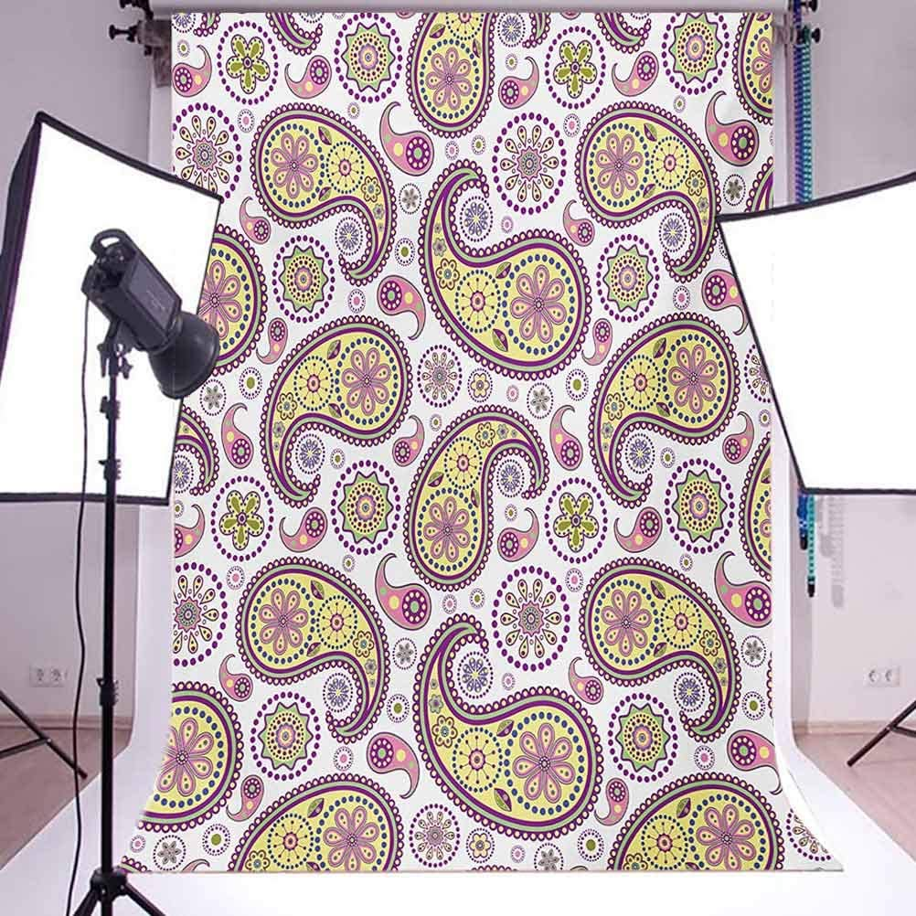 Paisley 10x12 FT Photography Backdrop Ornate Detailed Motif Authentic Oriental Print with Vivid Colors Design Background for Party Home Decor Outdoorsy Theme Vinyl Shoot Props Lilac Yellow
