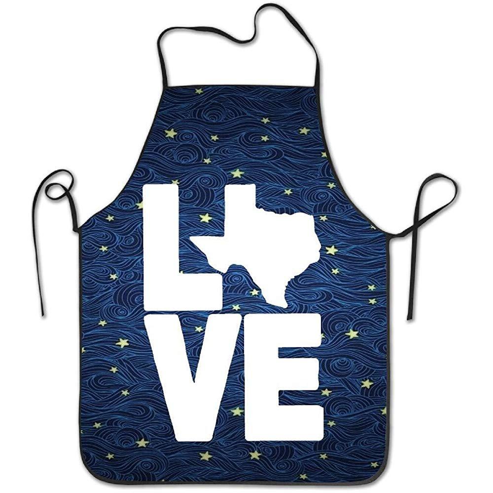 starobosエプロンTexas LoveロゴBBQレディースメンズ面白いクリエイティブ印刷Cooking   B07F7C7FW7