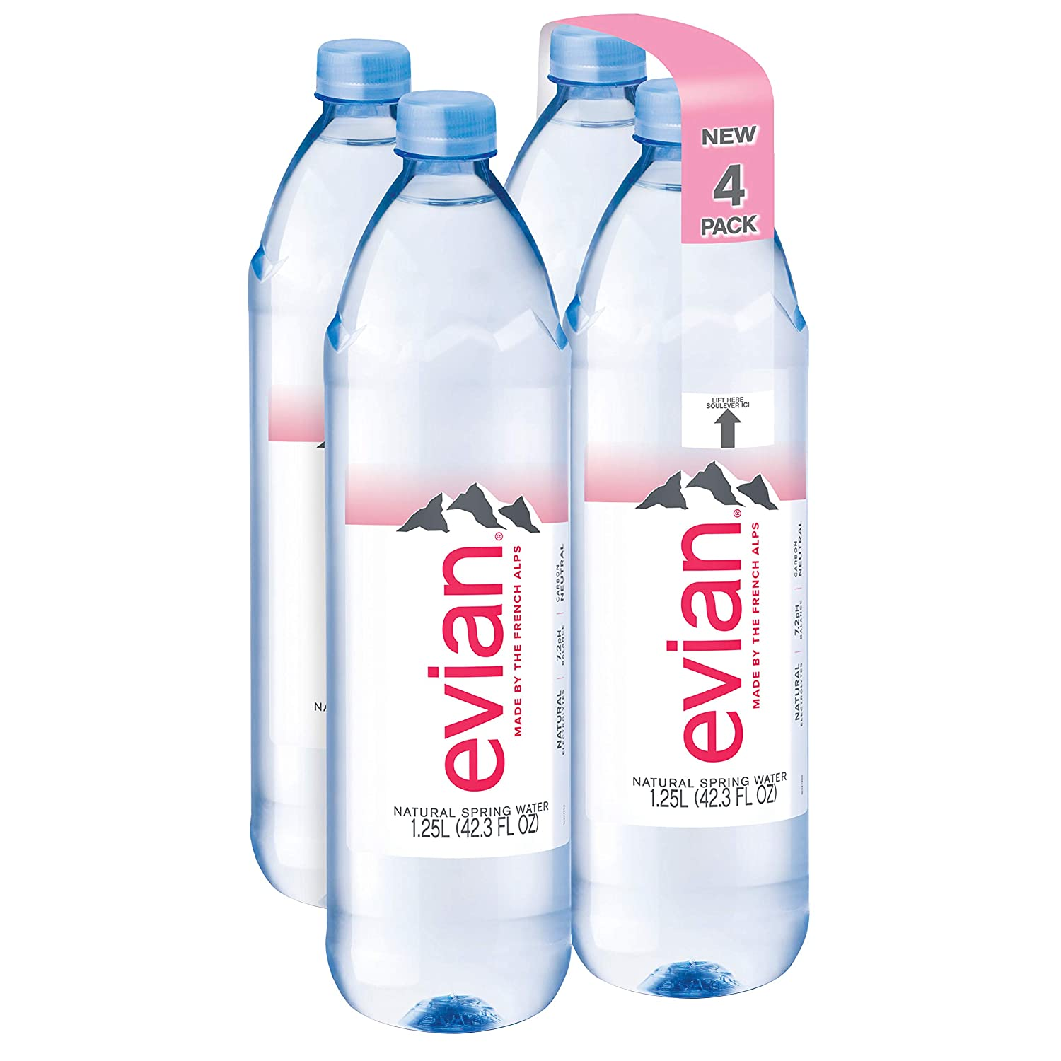 Evian Natural Spring Water 1 25 Liter 42 27 Fl Oz Pack Of 4 Naturally Filtered Spring Water In Bulk Size Water Bottles Amazon Com Grocery Gourmet Food