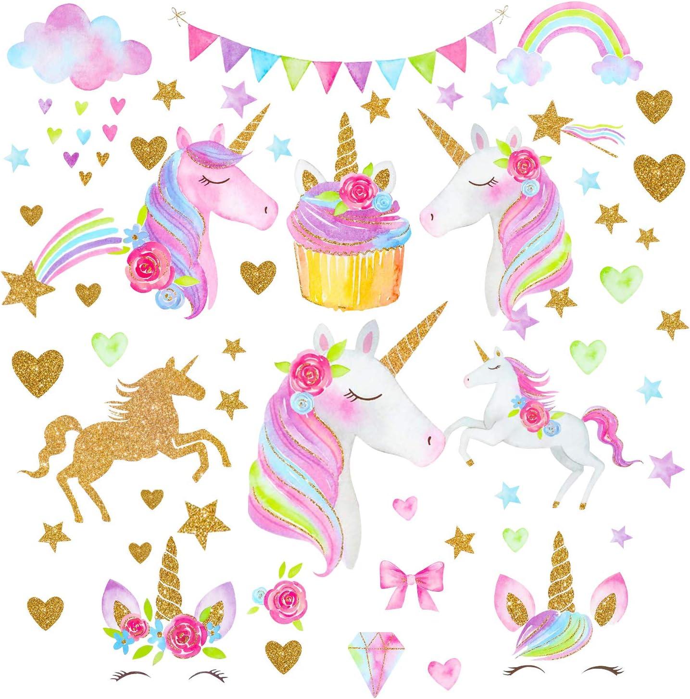 Adesivo Unicorno Decorazioni Murali Unicorno Sticker Da Muro Per Camera Da Letto Di Bambini Wowoss 3 Pezzi Adesivi Murali Di Unicorno Giochi E Giocattoli Attivita Creative
