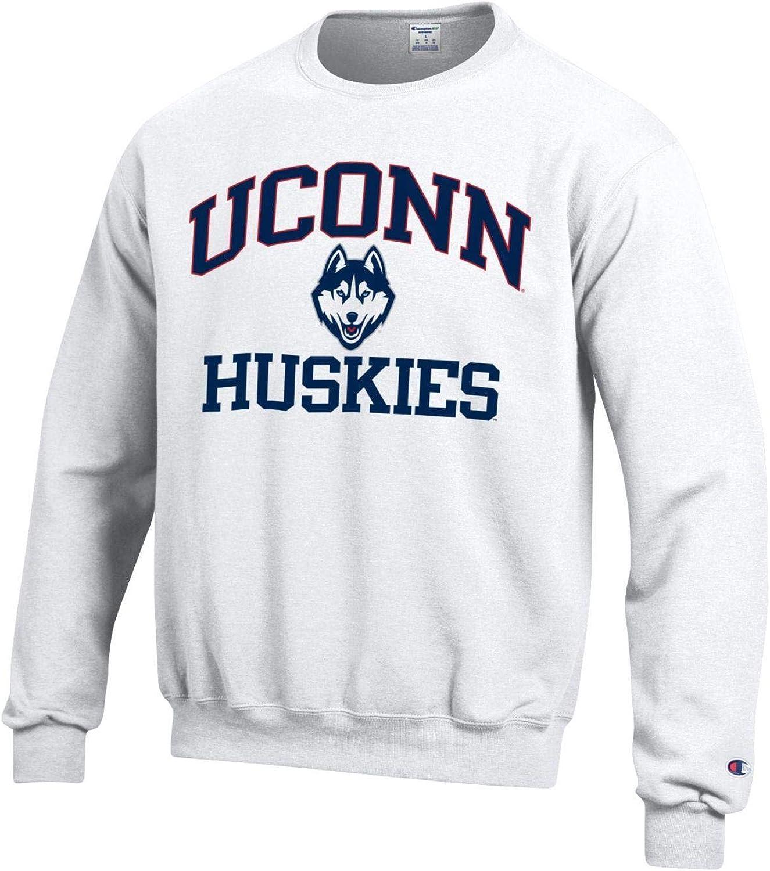 Huskies Crew Neck Sweatshirt-White Champion University of Connecticut U.Conn