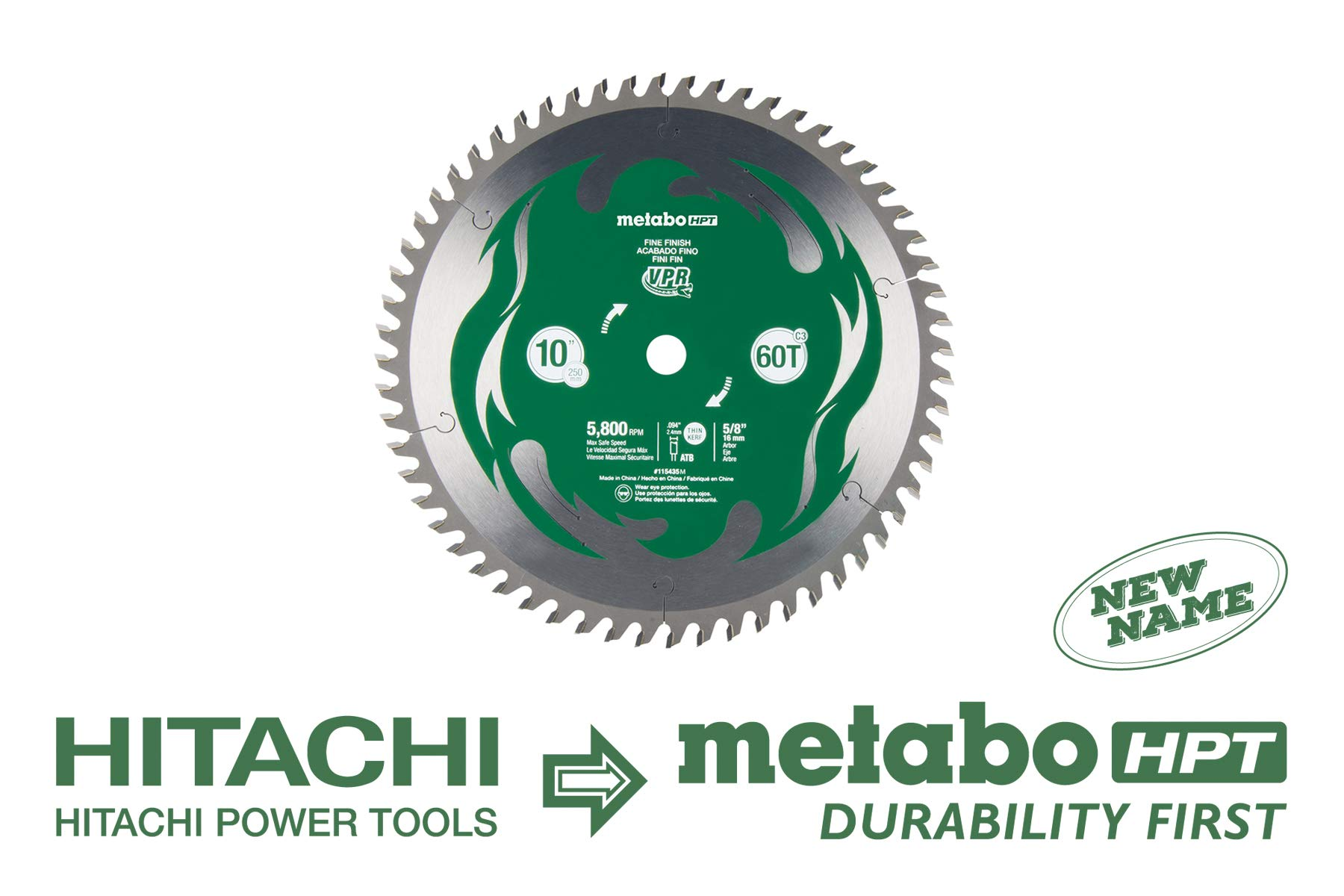 Metabo HPT 115435M 10'' Miter Saw/Table Saw Blade, 60T Fine Finish, Large Micrograin Carbide Teeth, 5, 800 Max Rpm by Metabo HPT