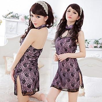 9570f7bf8 Amazon.com: Sexy Transparent Milk Lace Cheongsam Women's Tight Sleep ...
